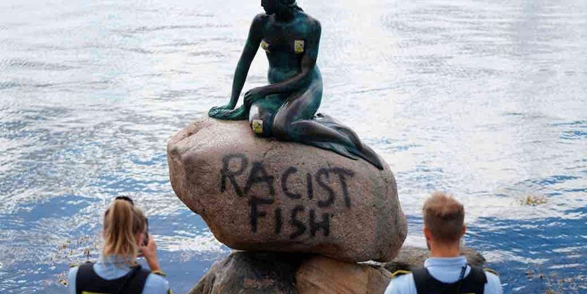 'Racist fish': Famous statue of the Little Mermaid in Copenhagen harbor has been vandalized