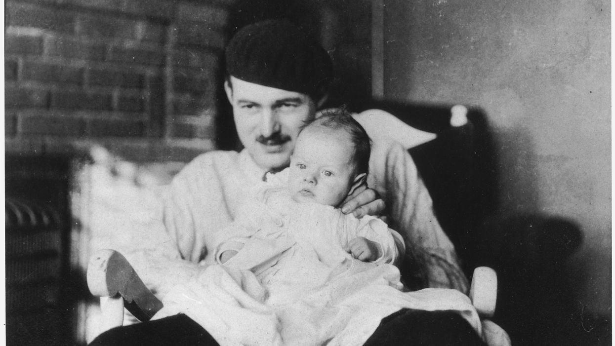 Photograph of Ernest Hemingway with his son John Hadley Nicanor (Bumby)