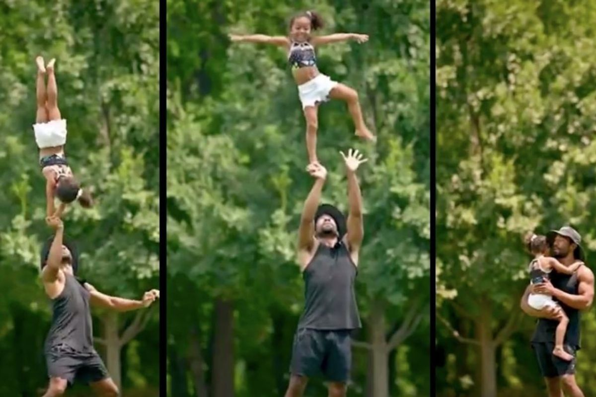 Dad coaching his 4-yr-old through a harrowing cheer stunt mistake is peak patient parenting