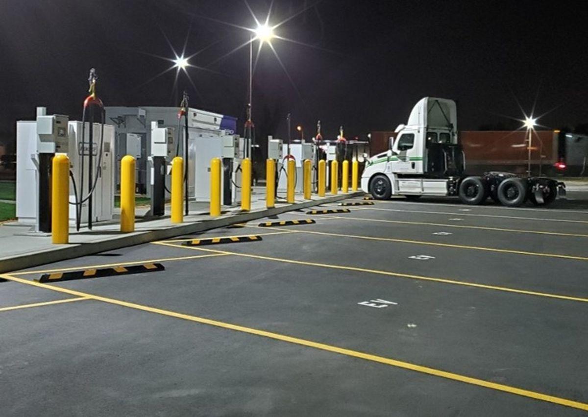 Penske's latest EV charging station in Ontario, California