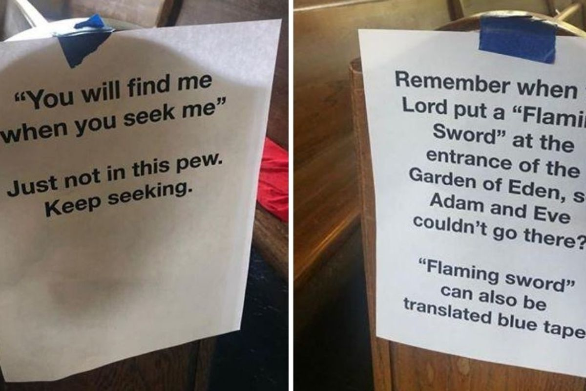 Church posts hilarious Bible-themed signs to enforce social distancing in the pews