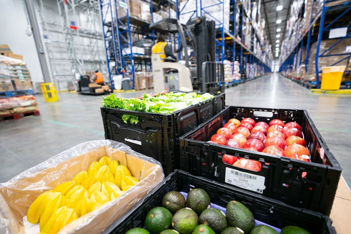 produce in logistics warehouse