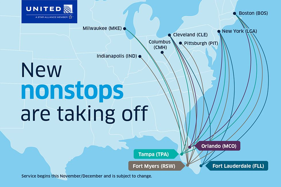 United route map of new flights to Florida this winter.