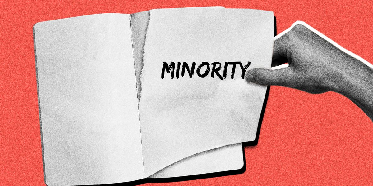 """The word """"minority"""" getting ripped from the page of a book"""