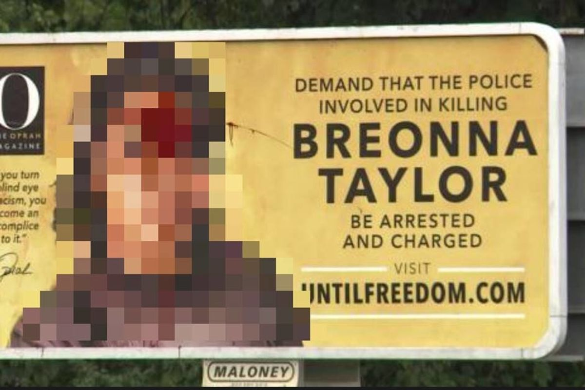 Vandals defaced a justice for Breonna Taylor sign and accidentally made it even more powerful