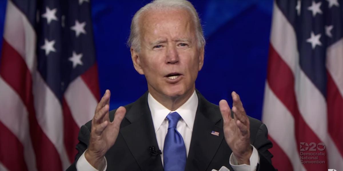 Joe Biden at  the DNC