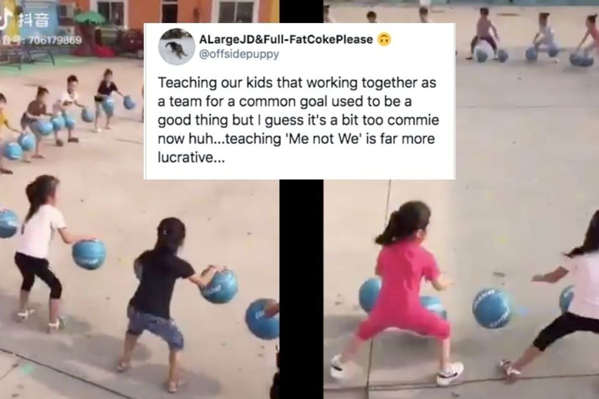 Video of school kids in China bouncing balls in unison is like a cultural Rorschach test
