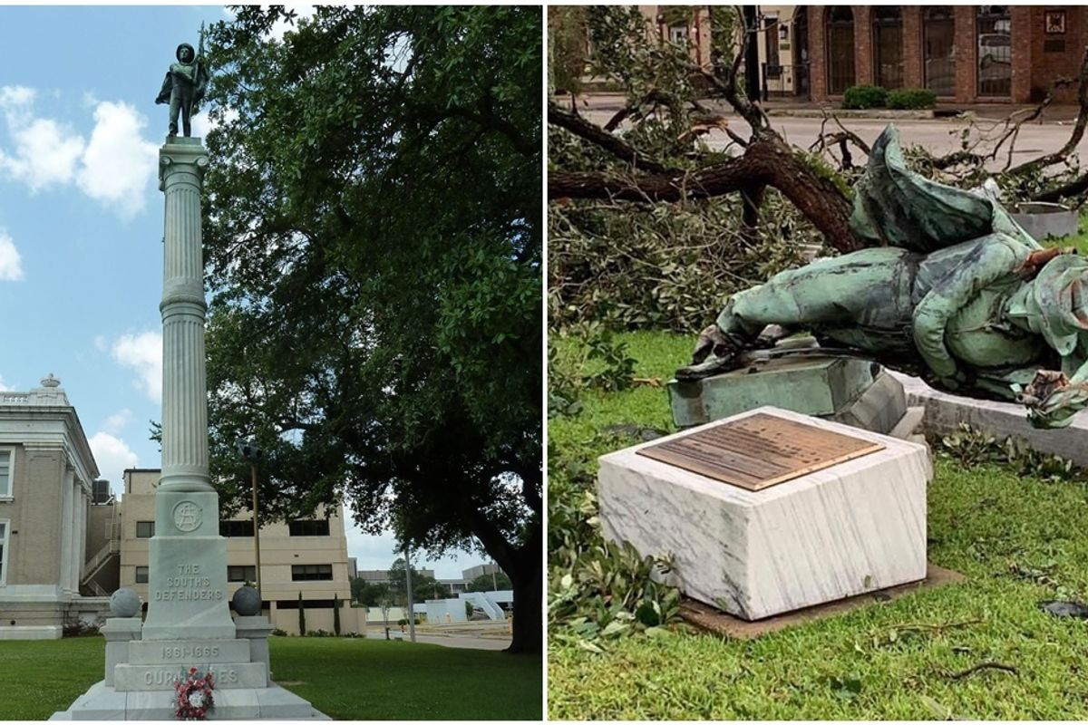 Residents fought over a Confederate statue for months. Hurricane Laura made the final decision.