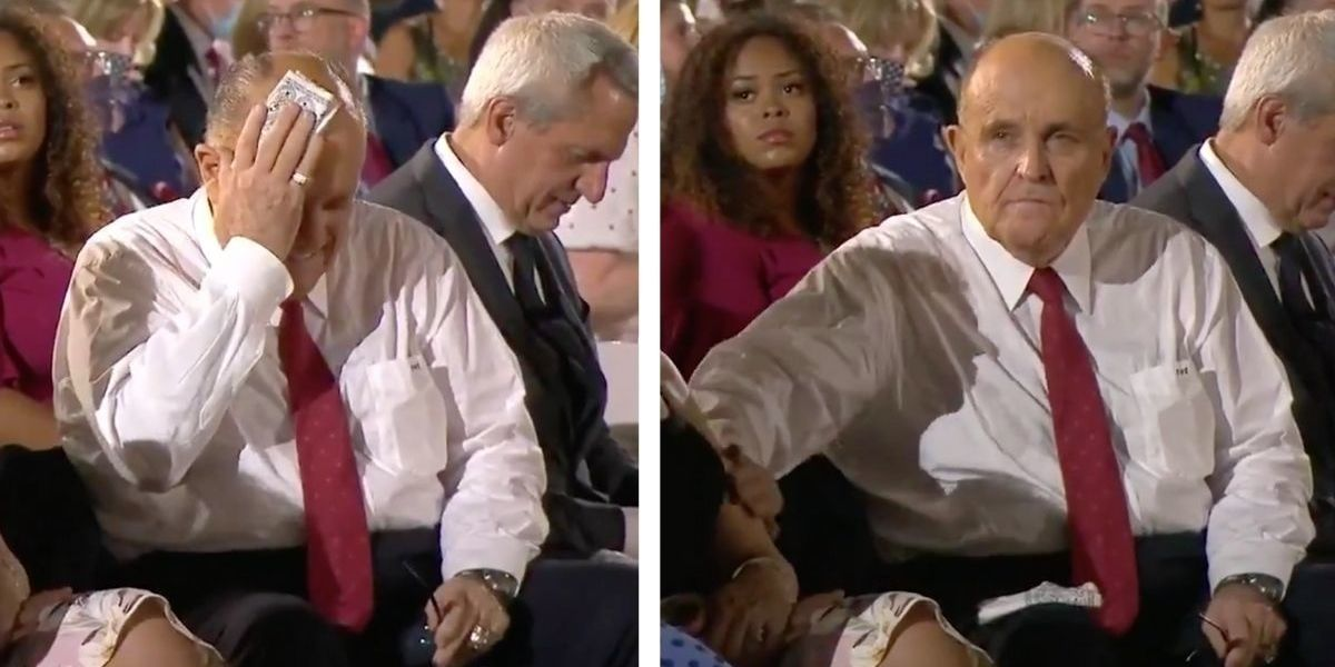 Rudy Giuliani Wipes Sweat On Woman Next To Him At RNC ...