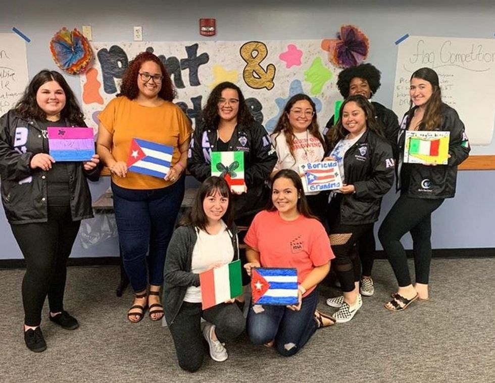 """FGCU students at the Latin American Student Organization's """"Paint and Pastries"""" night, November 21st, 2019."""