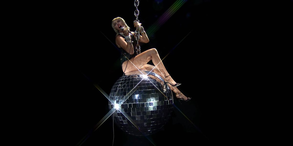 Miley Cyrus Rode a Disco 'Wrecking Ball' at the VMAs