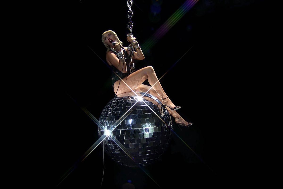 Miley Cyrus Rode a Disco 'Wrecking Ball' at the VMAs
