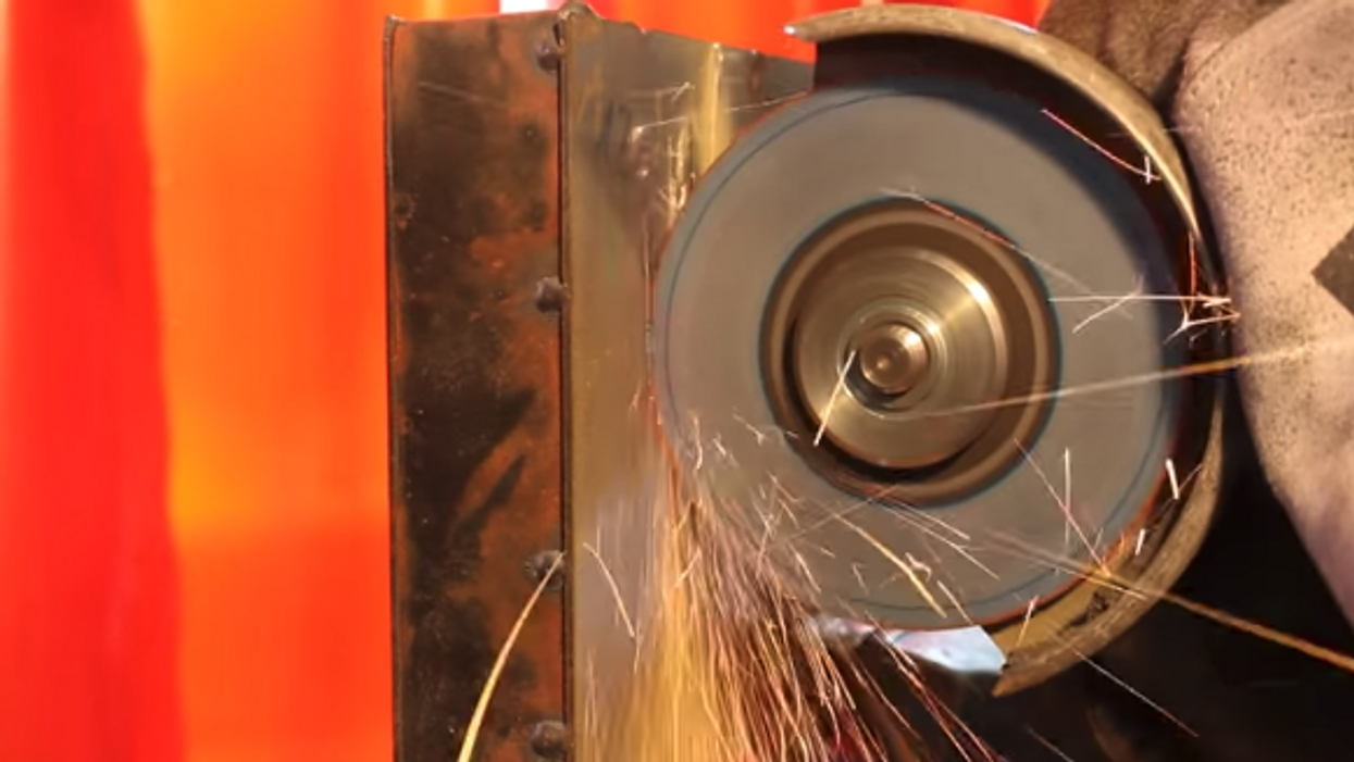 angle grinder trying to cut Proteus material