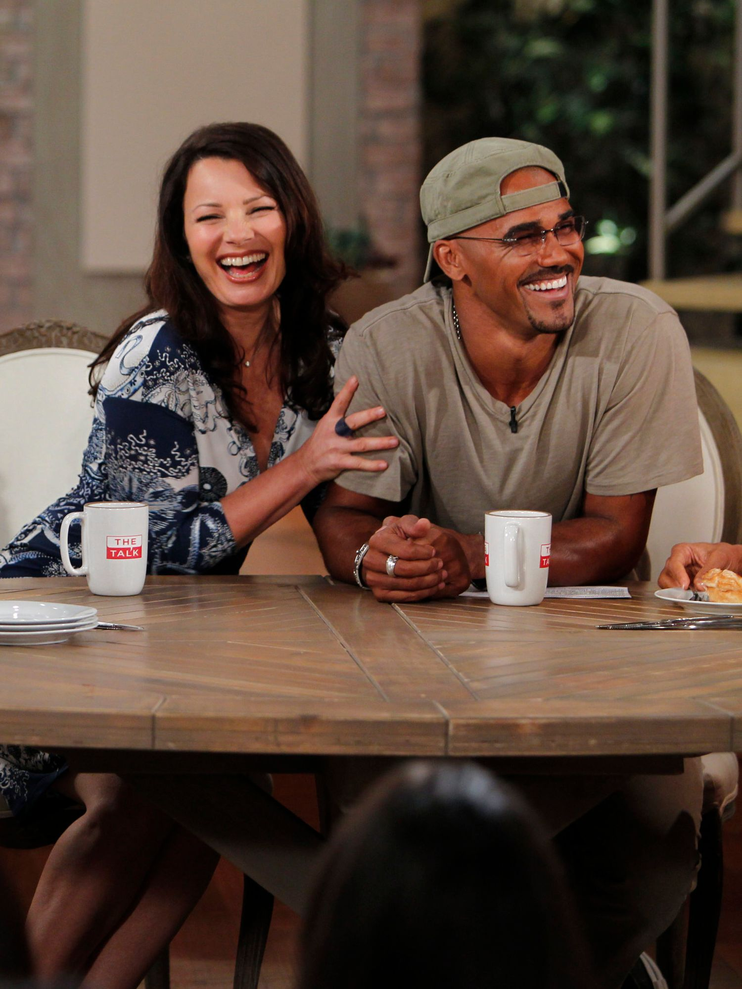 Fran Drescher and Shemar Moore on the set of The Talk