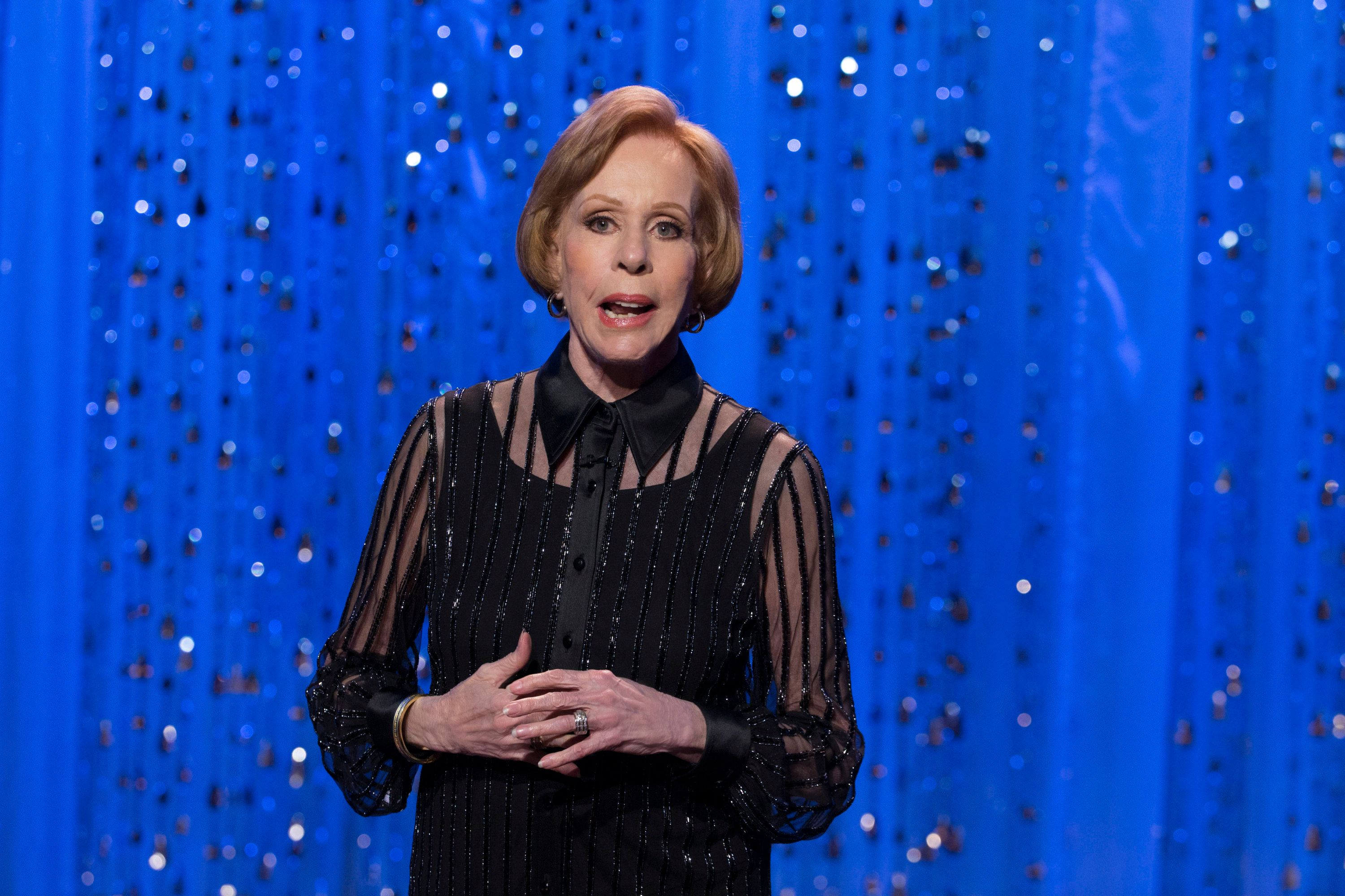 Carol Burnett on stage during a CBS special celebrating the 50th anniversary of her variety show