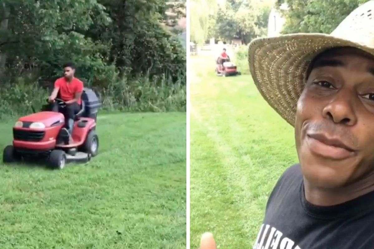 Dad gives a beautiful explanation of why it's ok that his son mows the lawn 'wrong'