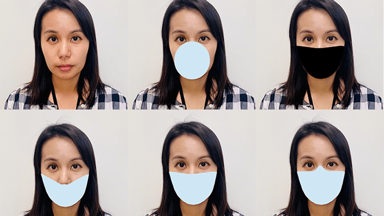 woman with different styles of face masks
