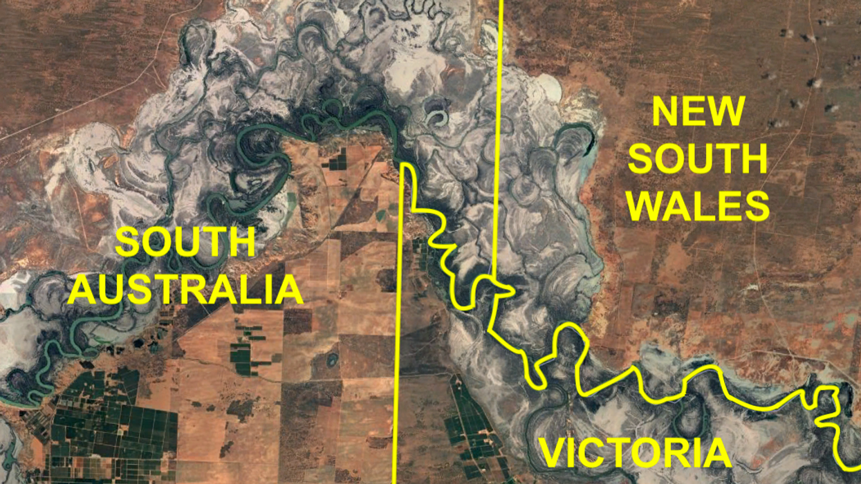Map of South Australia, New South Wales, and Victoria
