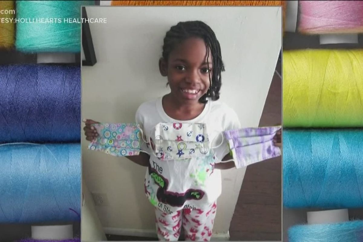 An 11-year-old girl is taking sewing lessons to make 1,200 masks for homeless people
