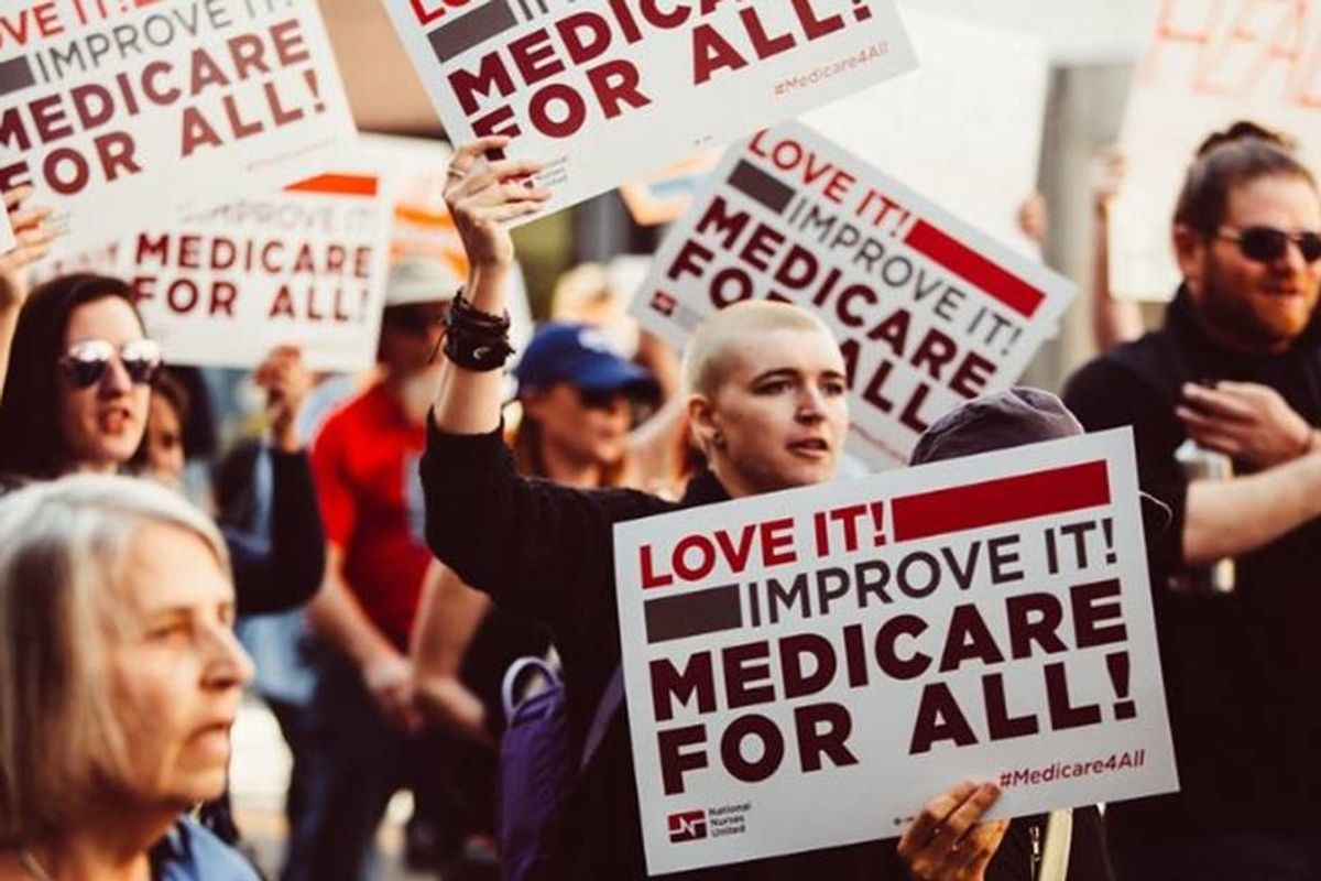 Over 700 DNC delegates come together in solidarity to show the fight for Medicare for All is far from over