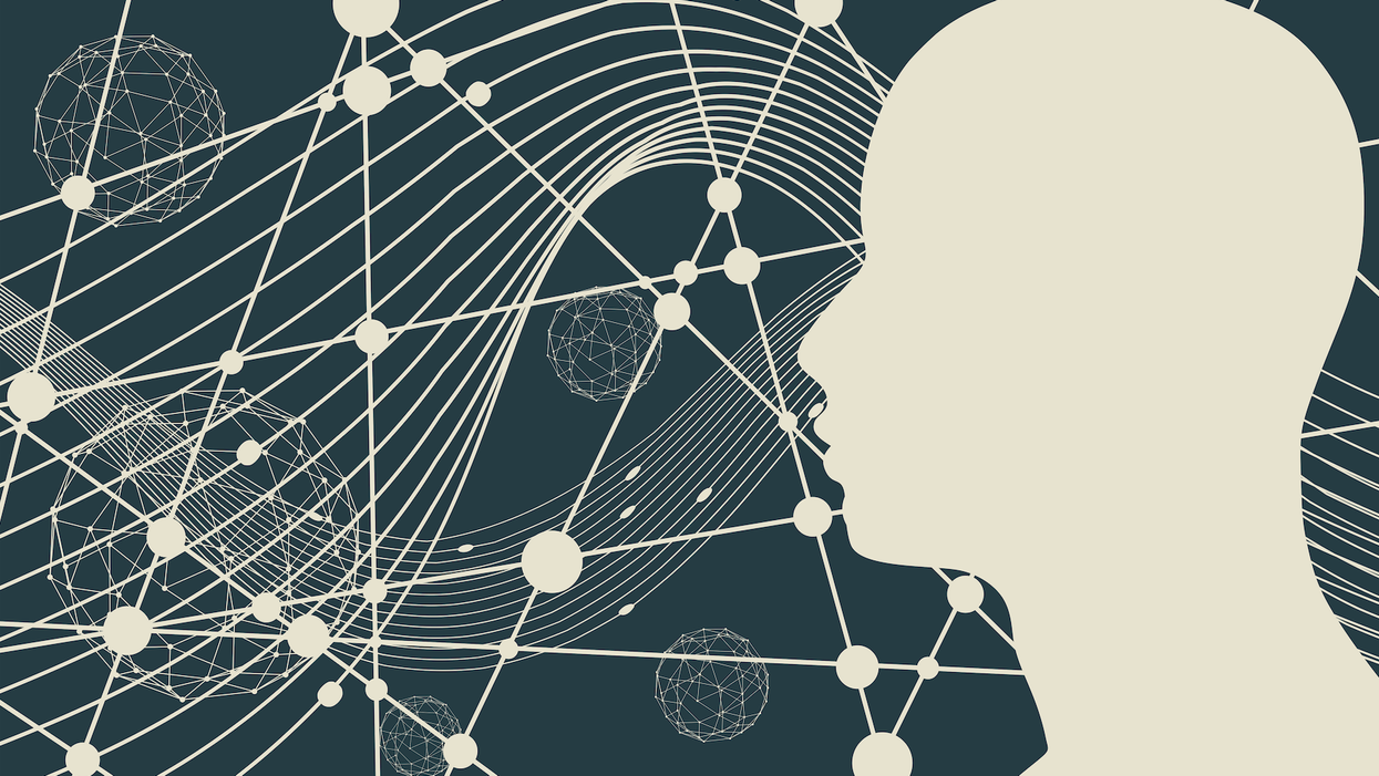 graphic with person's silhouette, lines, and geometric shapes
