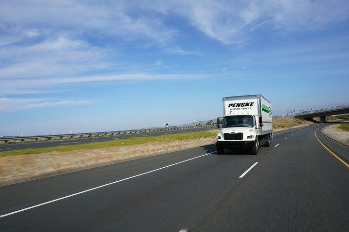 penske electric vehicle on the highway
