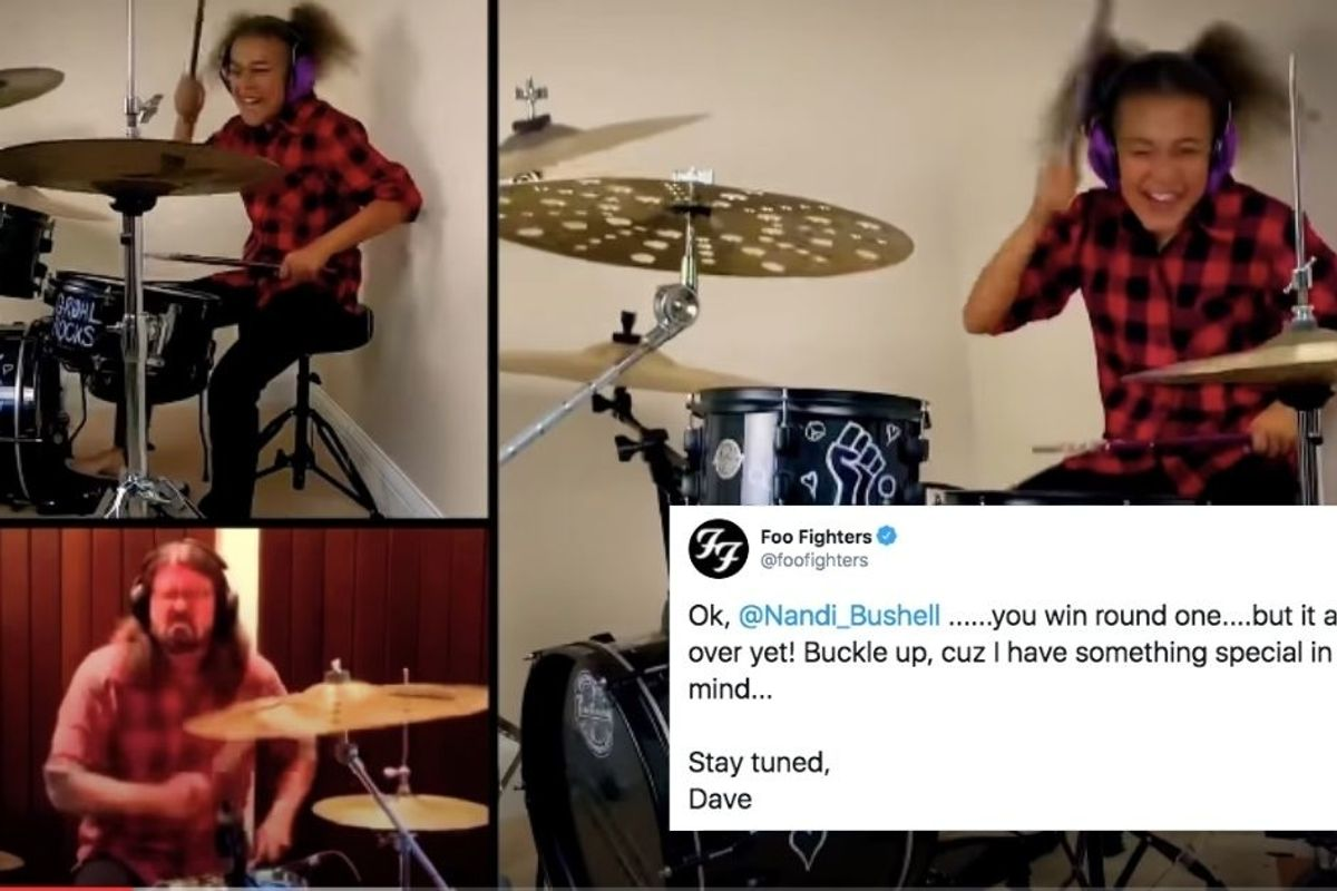 10-yr-old drum prodigy challenged Dave Grohl to a drum battle, and it's SO fun to watch