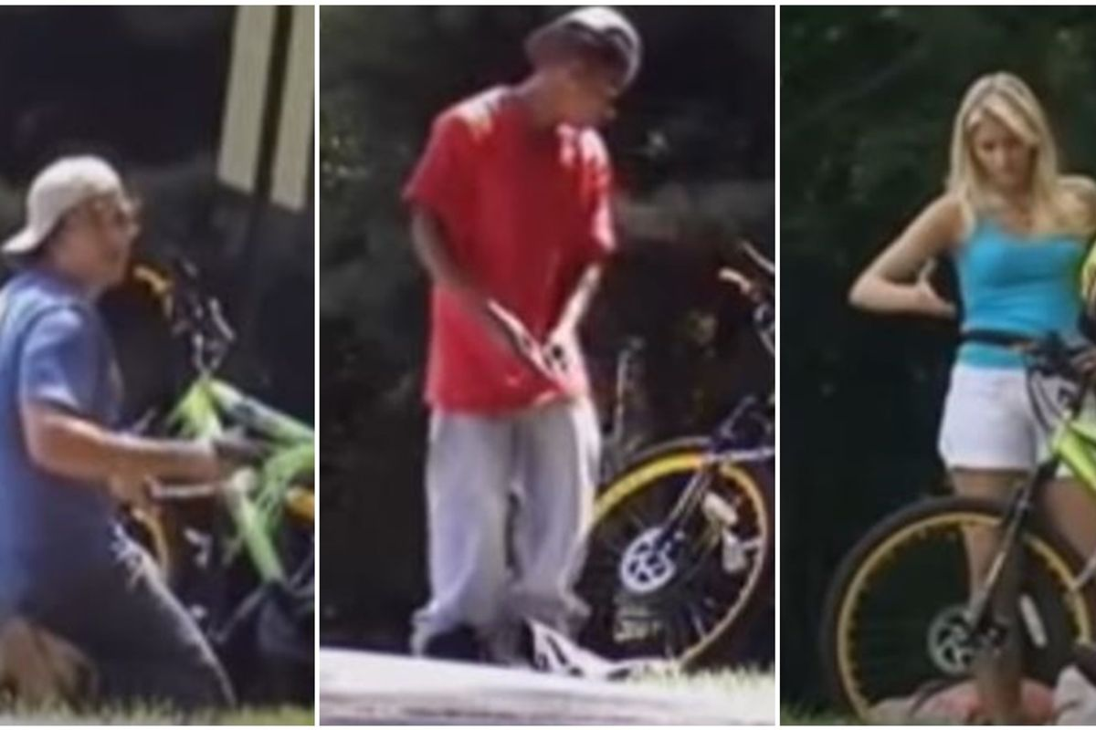 A white guy, a Black guy, and a pretty blonde all tried to steal a bike. Here's how the public reacted.