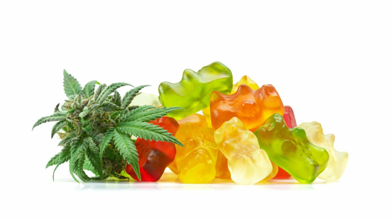 cannabis leaf and gummy bears