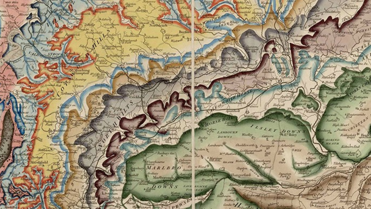 Detail of William Smith's 1815 map of the geology of Britain.