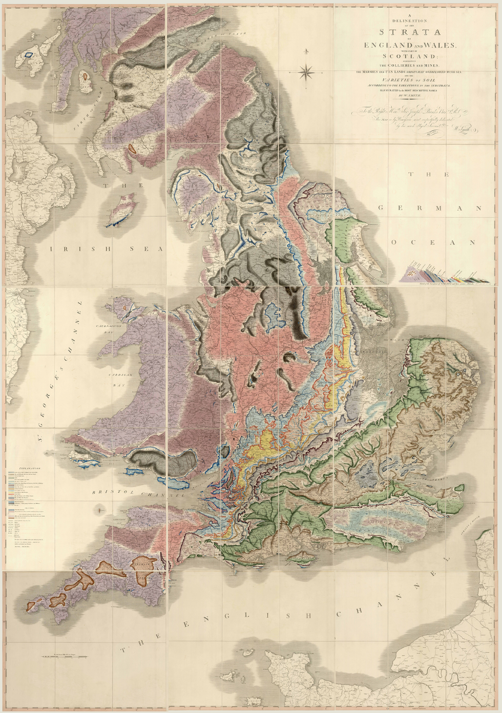'A Delineation of the Strata of England and Wales, with Part of Scotland; Exhibiting the Collieries and Mines, the Marshes and Fen Lands Originally Overflowed by the Sea, and the Varieties of Soil According to the Variations in the Substrata, Illustrated by the Most Descriptive Names'.