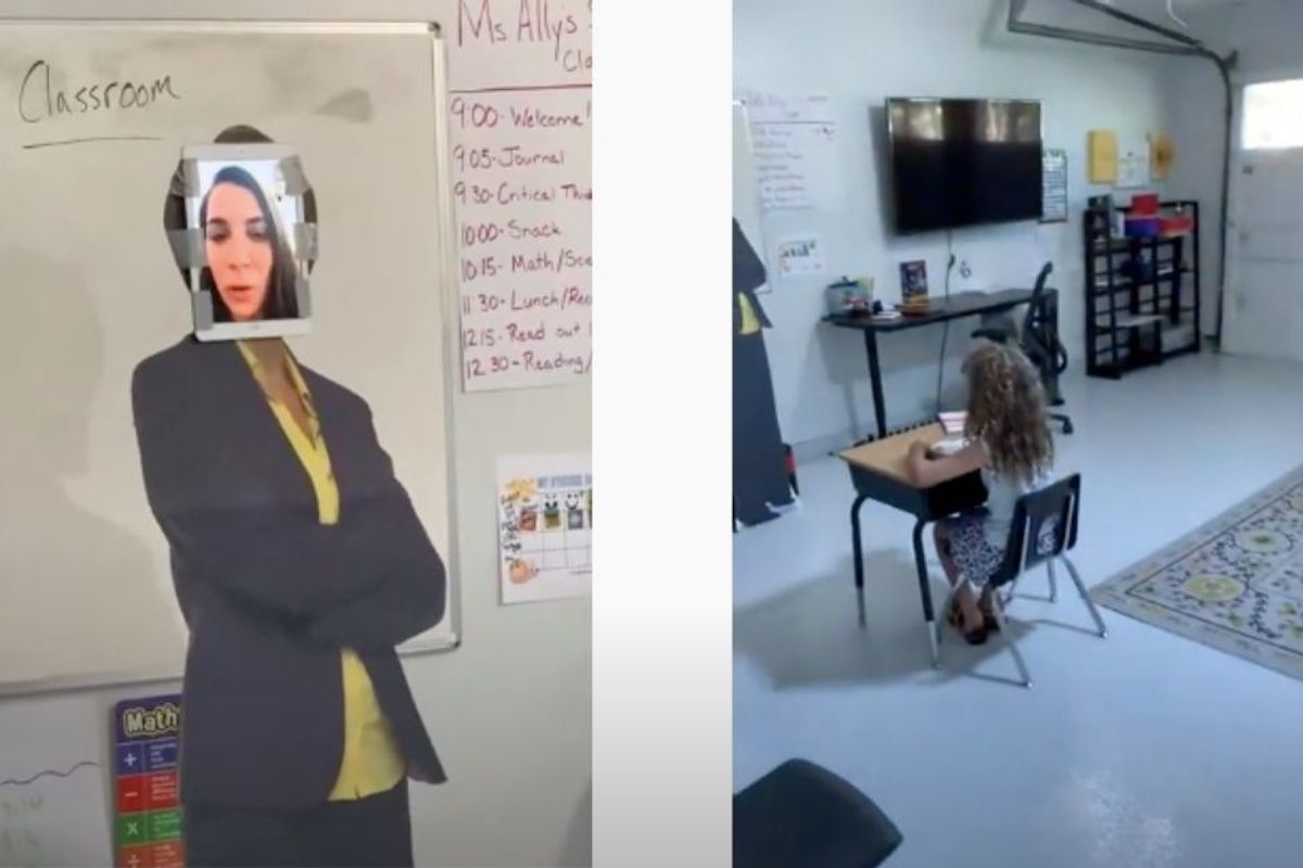 Dad transforms the garage into a 'real' school classroom for his daughter—teacher and all