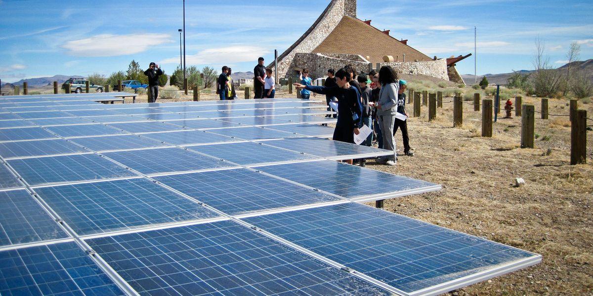 Students solar panels energy
