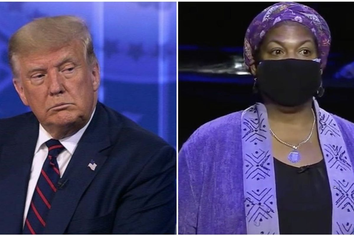 'Let me finish my question, sir': Professor faces Trump on healthcare at election town hall
