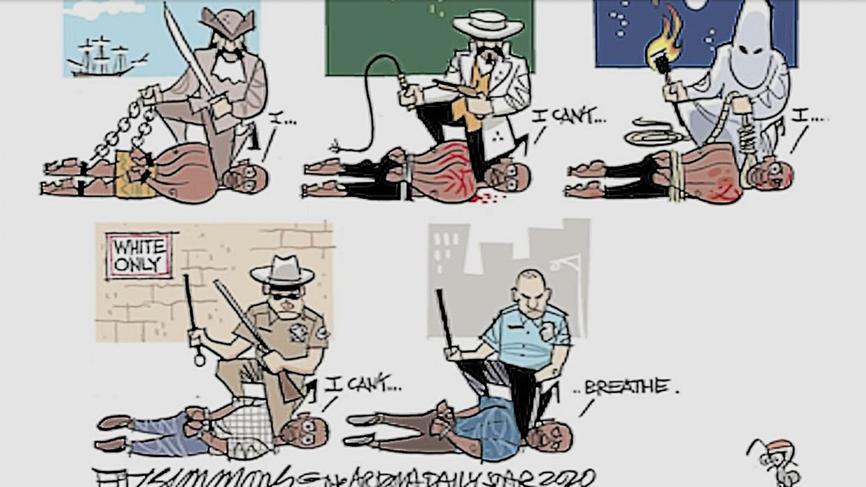 NY teacher shares cartoon with students comparing police officers to KKK. It was part of a Black Lives Matter-themed assignment.