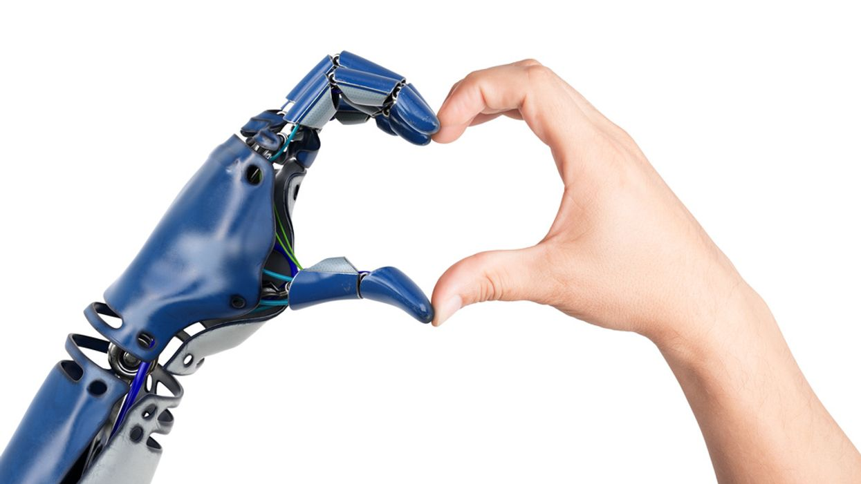 robot and woman making heart hands