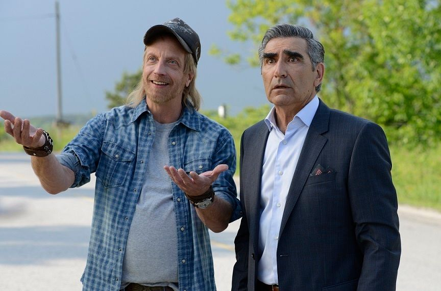 Chris Elliott as Schitts Creek Mayor Roland Schitt with Eugene Levy as Johnny Rose