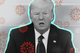 President Donald Trump surrounded by images of the coronavirus