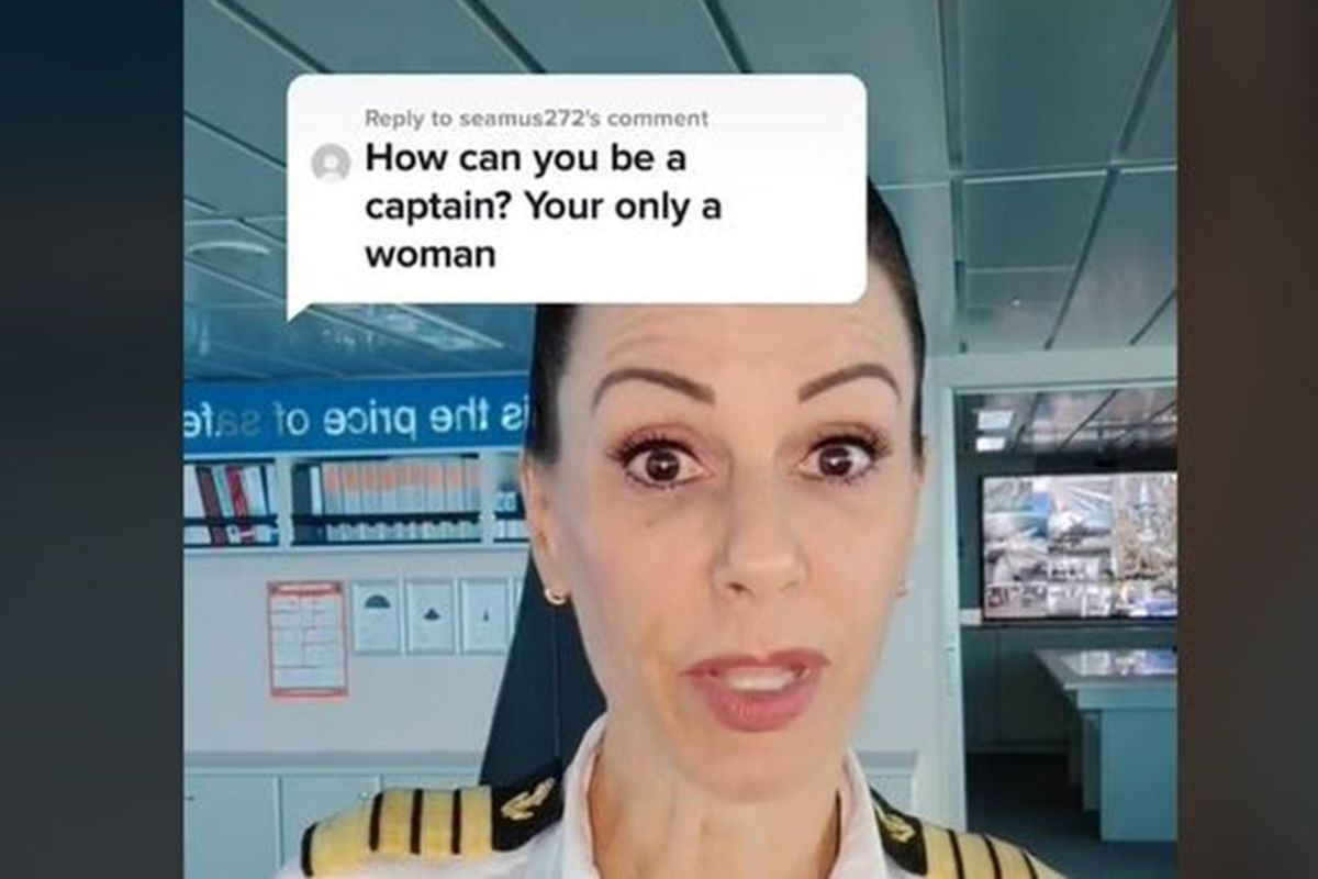 Ship captain has some fun with sexist troll after his grammatically challenged attack
