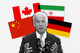 Joe Biden surrounded by the German, Iranian, Chinese, and Canadian national flags.