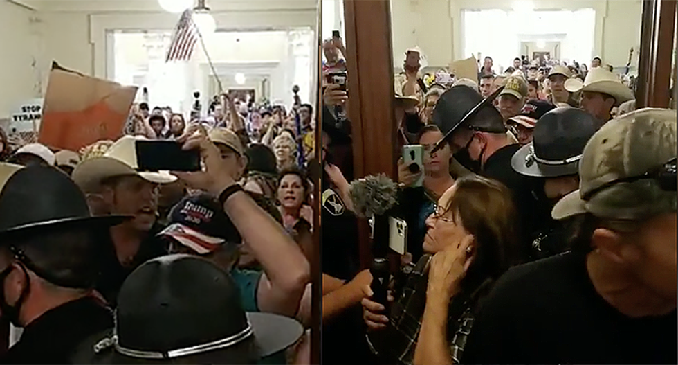 Chaos in Idaho as anti-masker Ammon Bundy and his followers storm state's House of Representatives