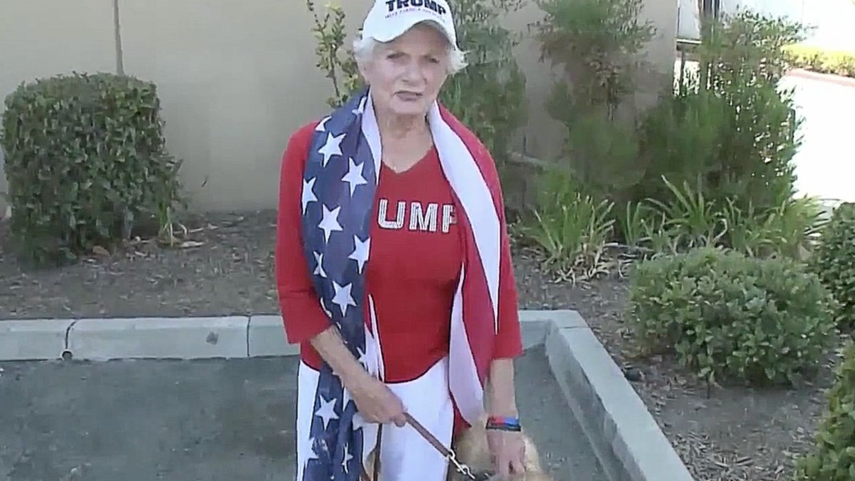 Man reportedly burns pro-Trump sign, punches elderly woman, pulls pocketknife during rally. Then a retired cop jumps into action.