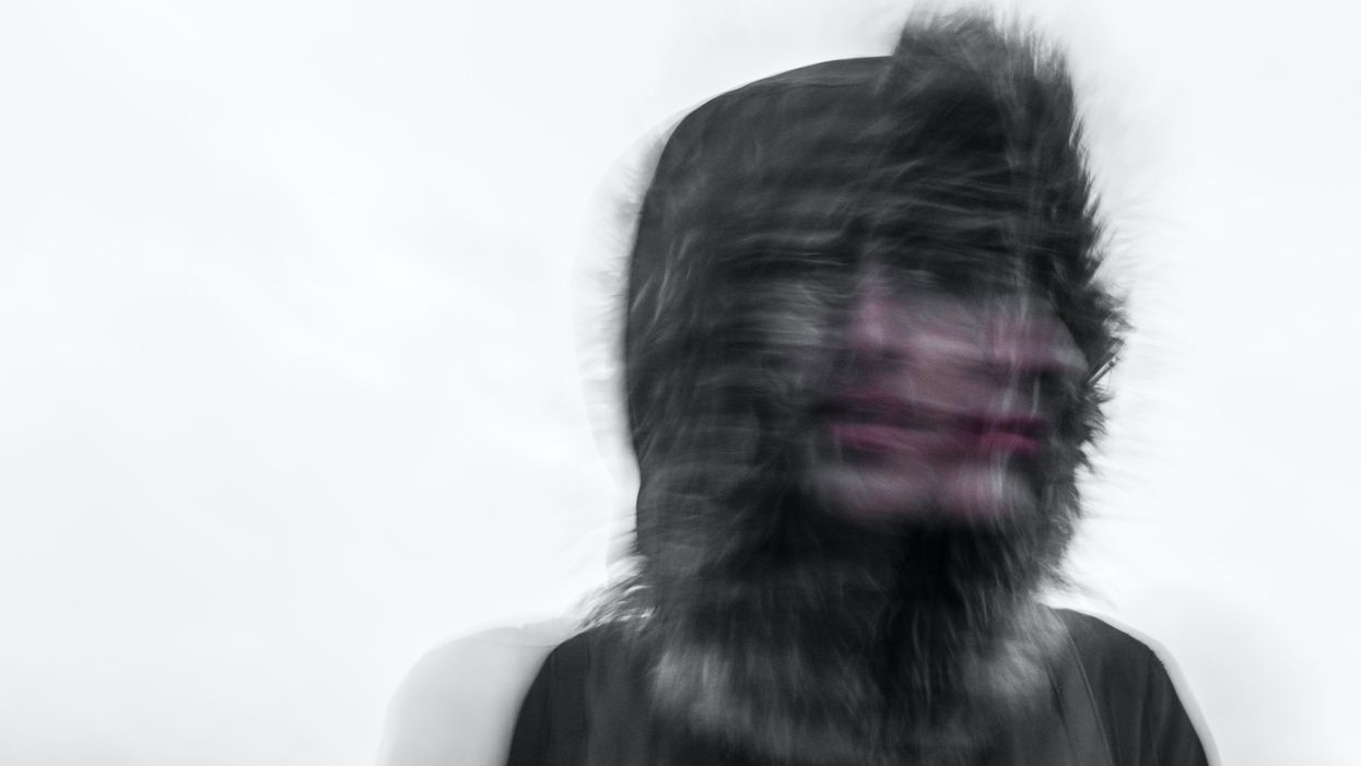 double exposure of person turning their head