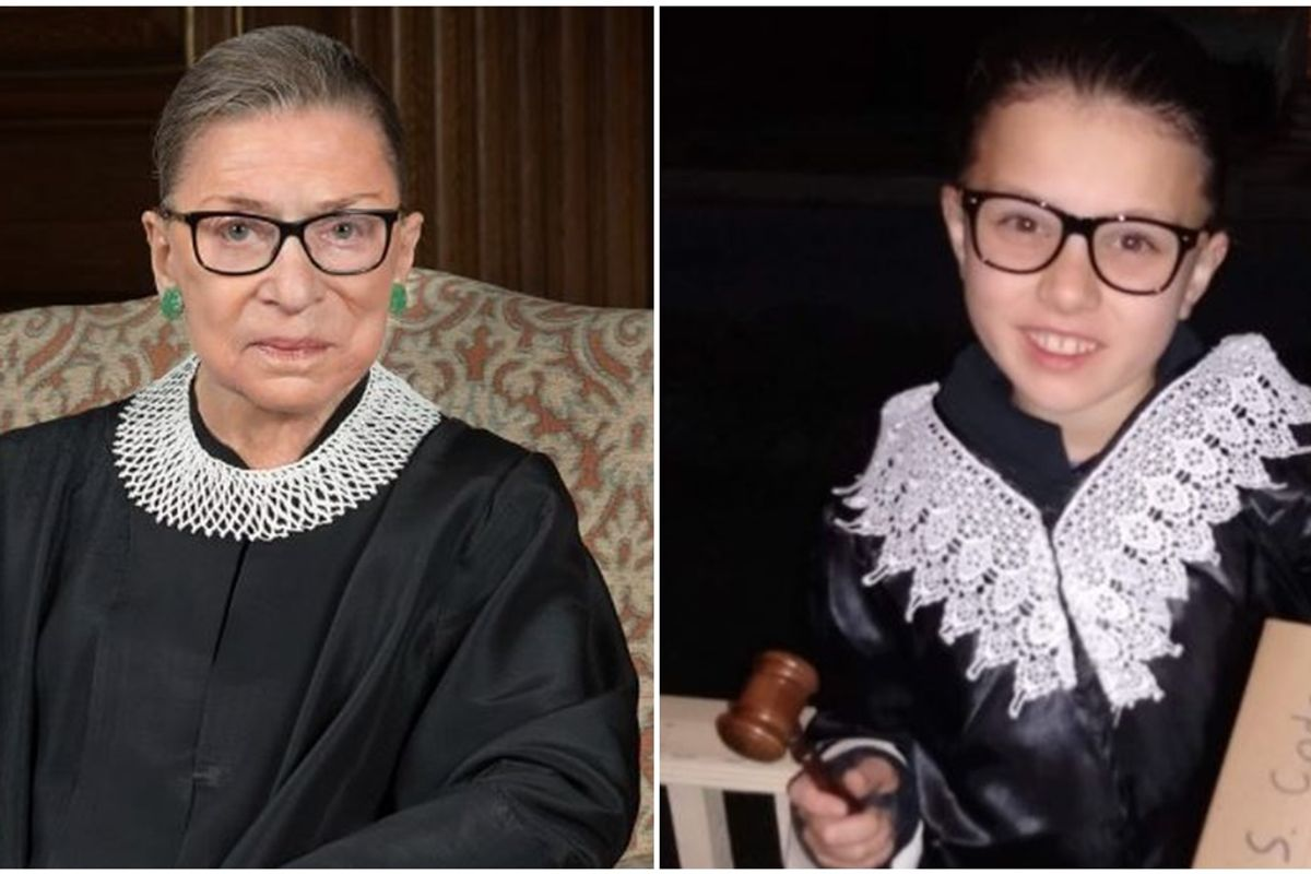 Parents are honoring Ruth Bader Ginsburg by sharing pictures of their daughters dressed as her