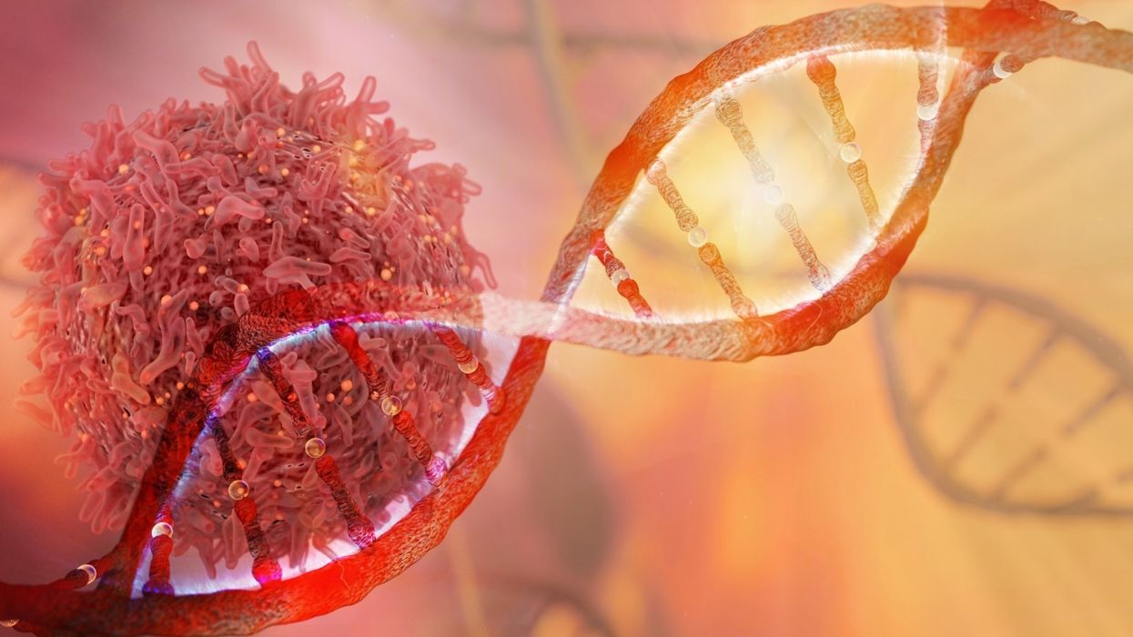 DNA strand and cancer cell 3D rendering