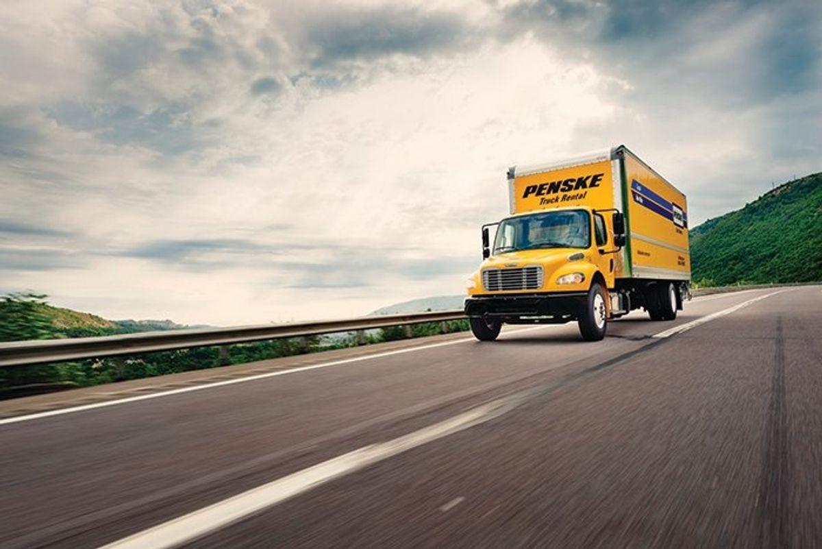 Penske truck on highway