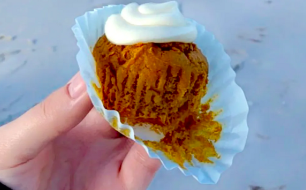 muffin with white icing on it
