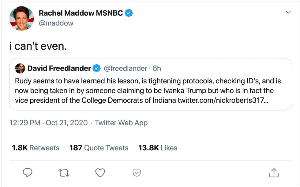 Rachel Maddow and a host of other liberals spread fake news about fabricated texts between Rudy Giuliani and Ivanka Trump
