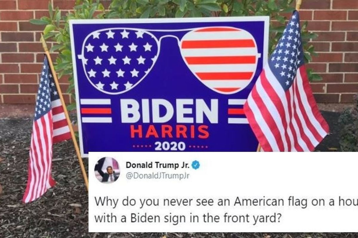 Don Trump Jr Asked Why Biden Supporters Don T Fly The American Flag The Responses Were Magnificent Good