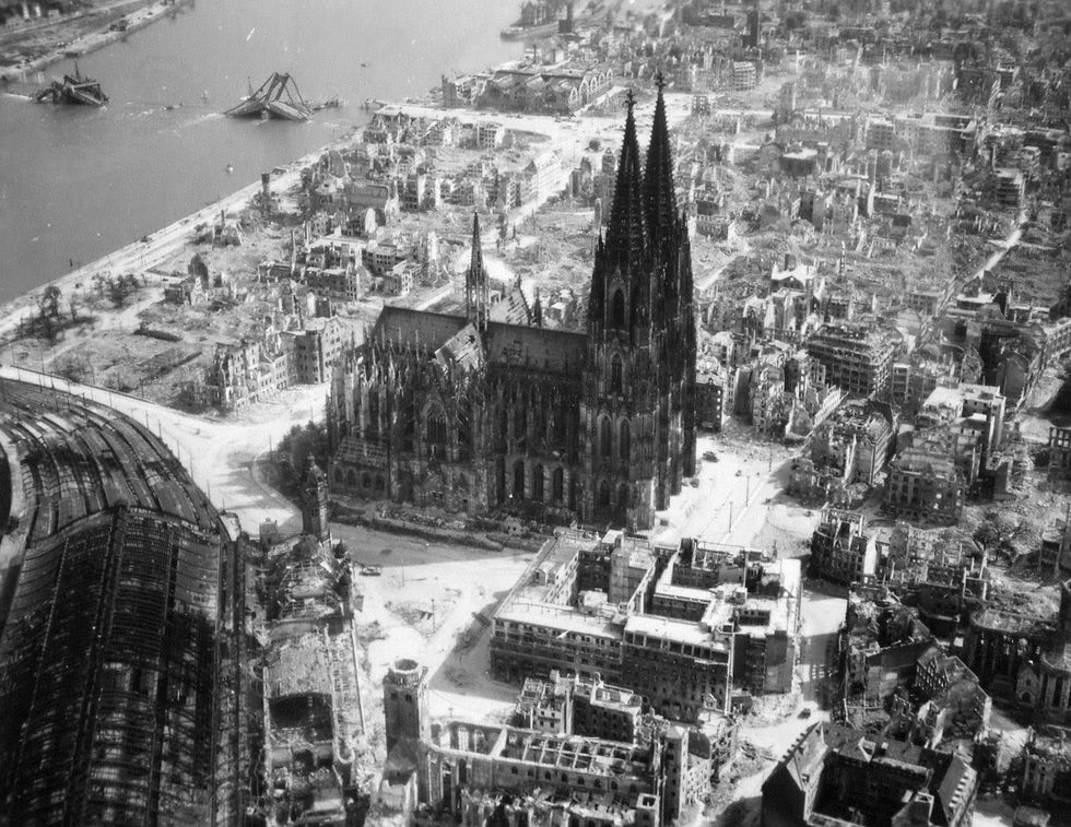 u200bAerial view of Cologne cathedral, relatively unscathed amid the ruins of the city.